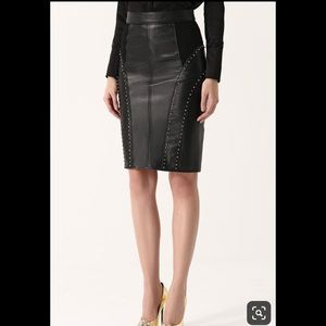 Versace Black Leather Midi Pencil Skirt Sz 40